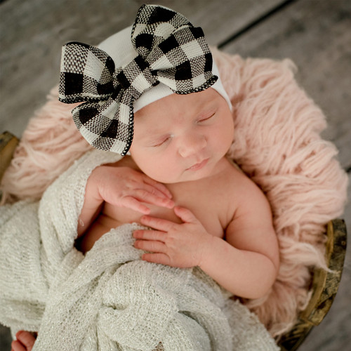 Newborn Bow Hat, Buffalo Plaid