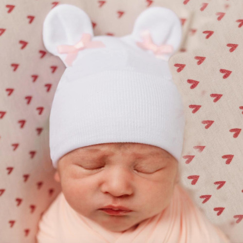 Newborn Bear Hat, Pink Bows