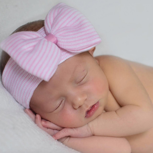 Newborn Stripe Headband, Pink