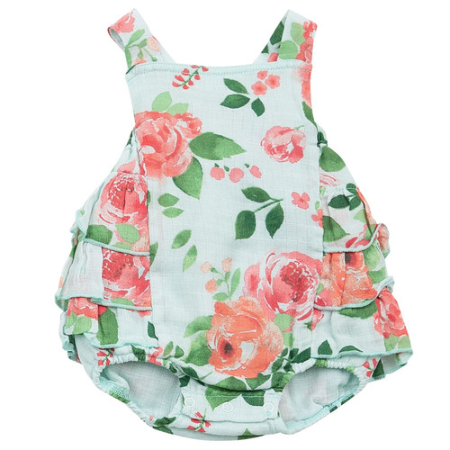 Ruffle Sunsuit, Rose Garden