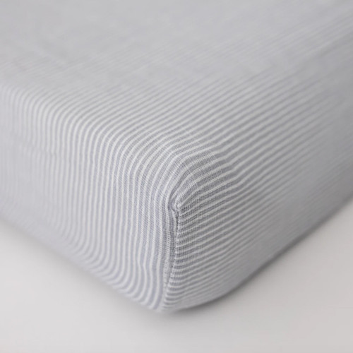 Muslin Changing Pad Cover, Grey Micro Stripe