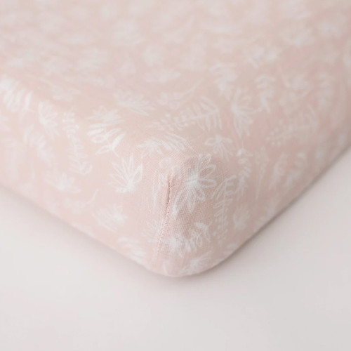 Muslin Changing Pad Cover, Pink Meadow