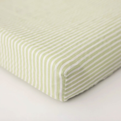 Muslin Changing Pad Cover, Green Stripe