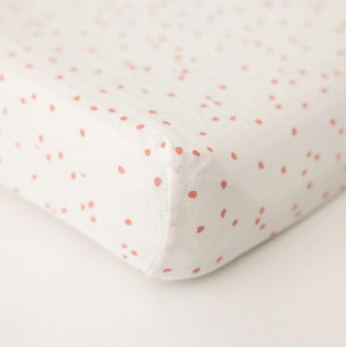 Muslin Changing Pad Cover, Pink Dot
