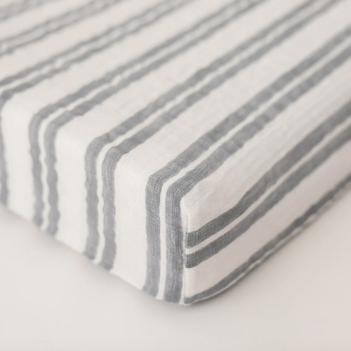 Muslin Changing Pad Cover, Double Grey Stripe