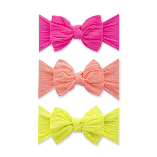 3-Pack Bow Set, Neon Pink, Neon Coral, Neon Yellow