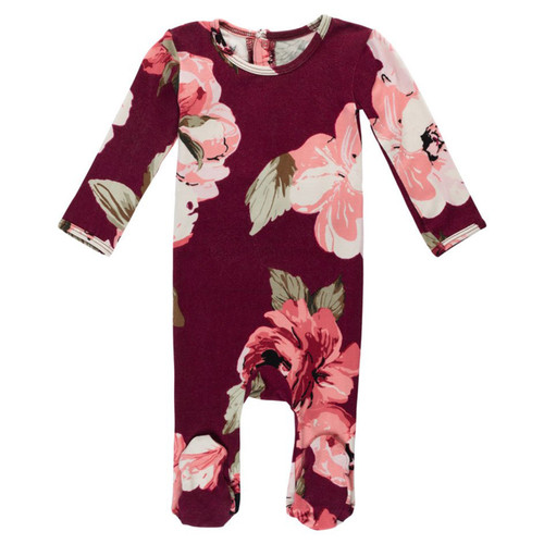 Burgundy Rose Footed Romper