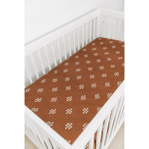 Muslin Crib Sheet, Chestnut Textiles