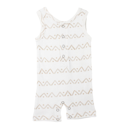 Sleeveless Romper, Tan Zigzag