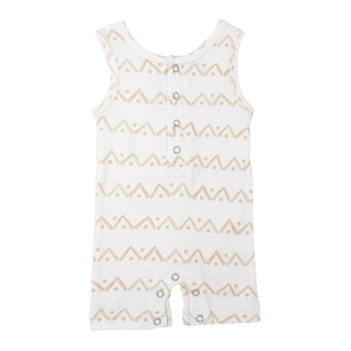 Sleeveless Romper, Honey Zigzag