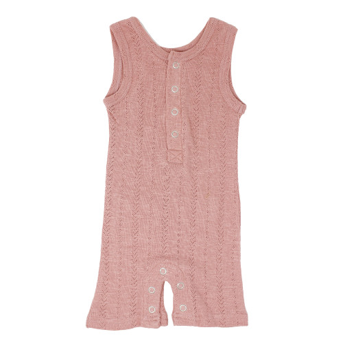 Pointelle Sleeveless Romper, Mauve