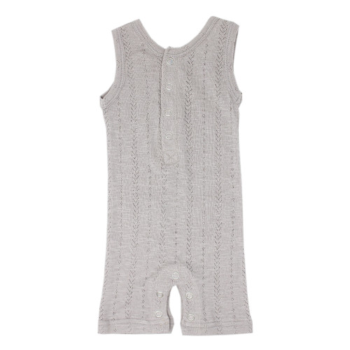 Pointelle Sleeveless Romper, Light Grey