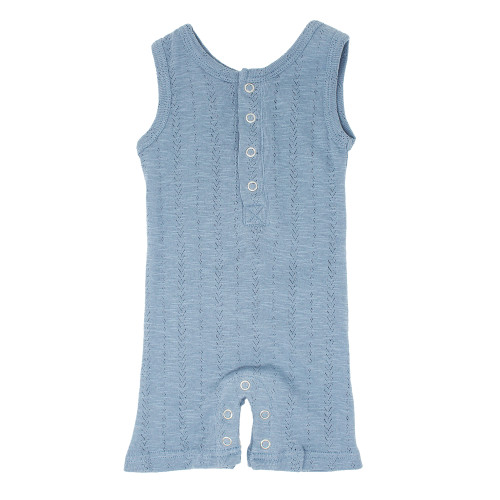 Pointelle Sleeveless Romper, Pool