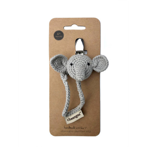 Pacifier Clip, Crochet Elephant