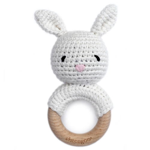 Crochet Bunny Teething Rattle, Snow White