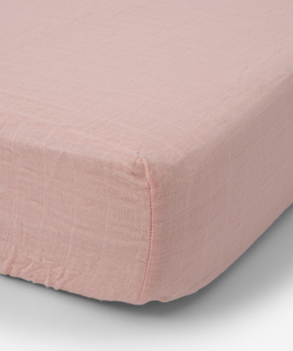 Cotton Muslin Fitted Crib Sheet, Rose Petal