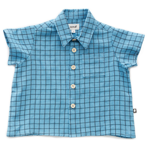 Oeuf Button Down Shirt, Blue Check