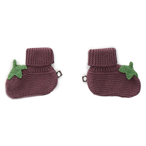 Oeuf Knit Booties, Blueberry