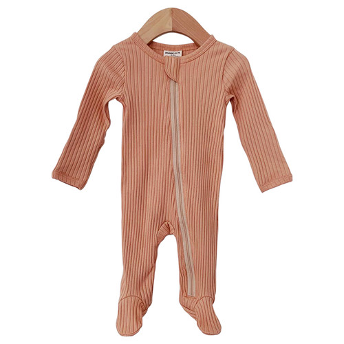 Organic Ribbed Basic Zipper Footie, Camel