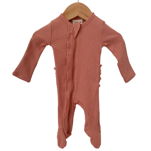 Organic Ribbed Ruffle Zipper Footie, Dusty Rose