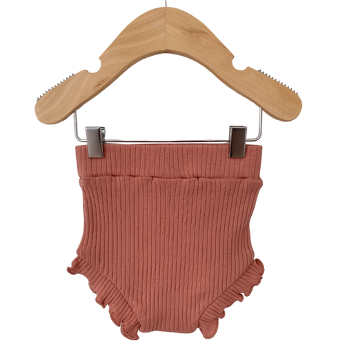 Organic Ribbed Ruffle Bloomer, Dusty Rose