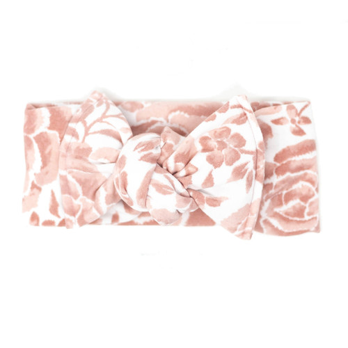 Headwrap Bow, Dusty Pink Floral