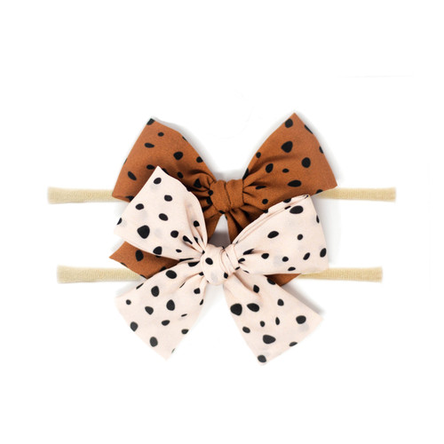 Nylon Headband Bow Set, Pebble