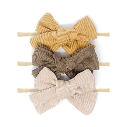 Nylon Headband Bow Set, Corduroy Neutrals