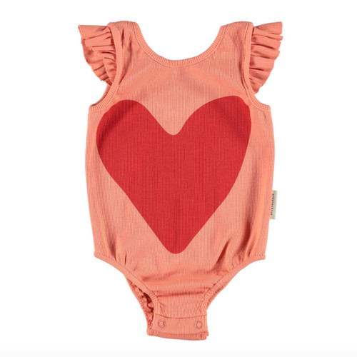 Ribbed Frill Bodysuit, Coral/Red Tear