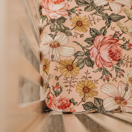 Vintage Floral Crib Sheet, Rose Pink
