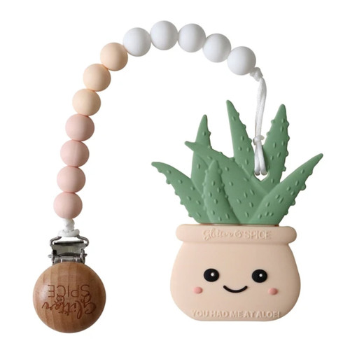 Aloe Plant Teether, Cream Peach