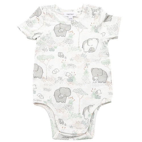 Short Sleeve Bodysuit, Elephants