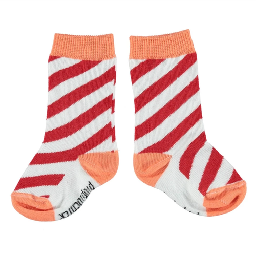 Socks, Red/Coral Stripes