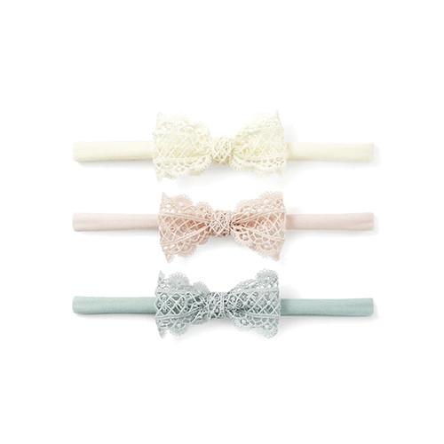 3-Pack Nylon Bows, Lacey