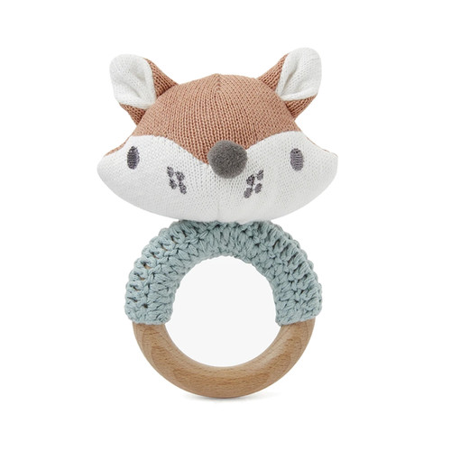 Fox Knit Ring Rattle