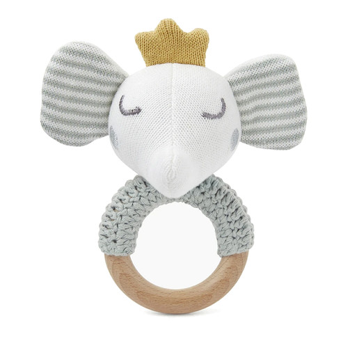 Sage Elephant Knit Ring Rattle