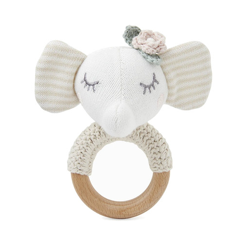 Wheat Elephant Knit Ring Rattle