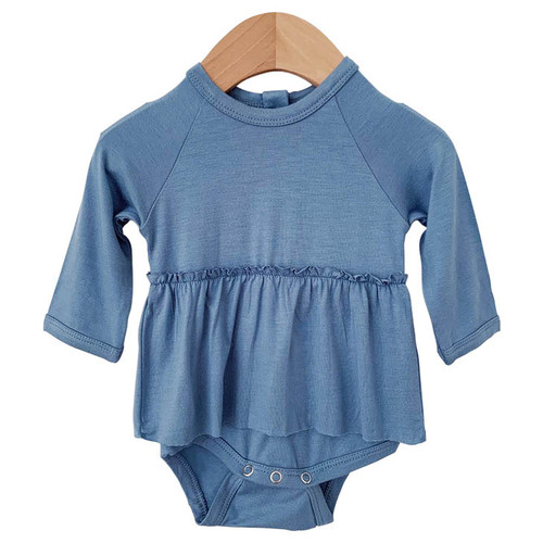Long Sleeve Skirted Bodysuit, Dusty Blue