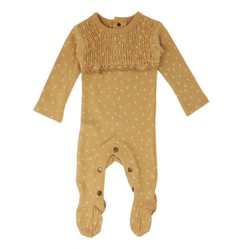 Organic Cotton Smocked Footed Romper, Honey Dots