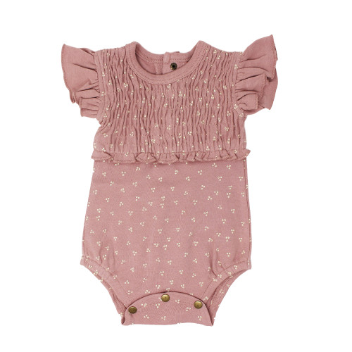 Organic Short Sleeve Smocked Bodysuit, Mauve Dots