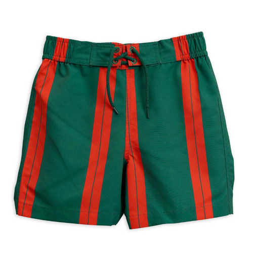 Mini Rodini Swimtrunk, Red/Green Stripe