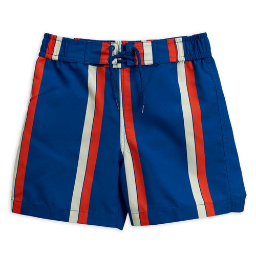 Mini Rodini Swimtrunk, Blue/Red Stripe