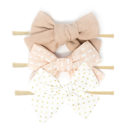 Nylon Headband Bow Set, Golden Peach