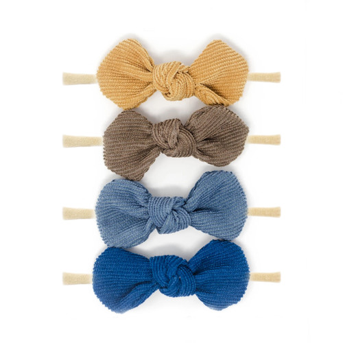 Nylon Headband Bow Set, Blue October
