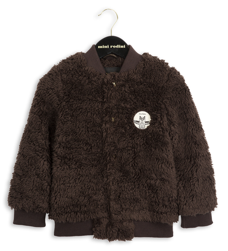Mini Rodini Pile Baseball Jacket, Brown
