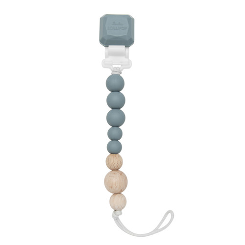 Lolli Silicone & Wood Pacifier Gem Clip, Slate