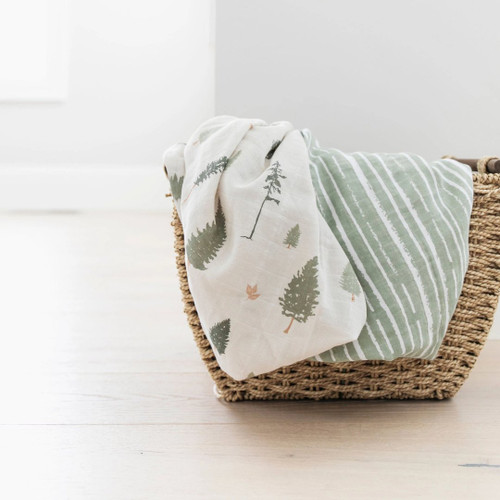 2-Pack Cotton Muslin Swaddles, Pine