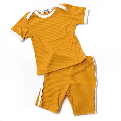 Ribbed 2-Piece Outfit, Mustard