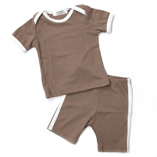 Ribbed 2-Piece Outfit, Mocha