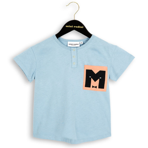 Mini Rodini M Baseball Tee, Light Blue